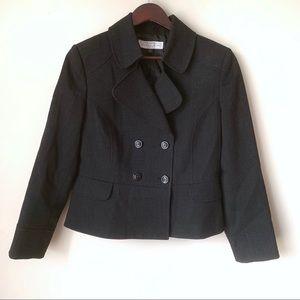Tahari 10 Petite Wool Blend Double Breasted Jacket